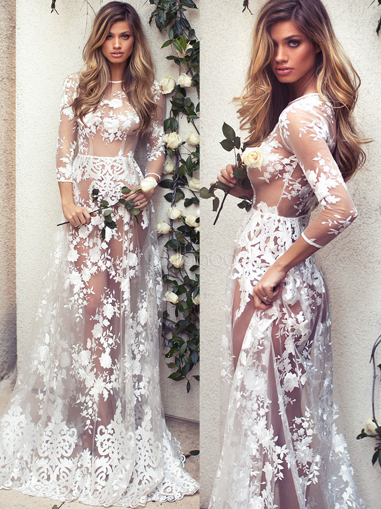 White Lace Maxi Dress Round Neck Illusion Three Quarter Length Sleeve Semi Sheer Sexy Party Dress Cheap clothes, free shipping worldwide