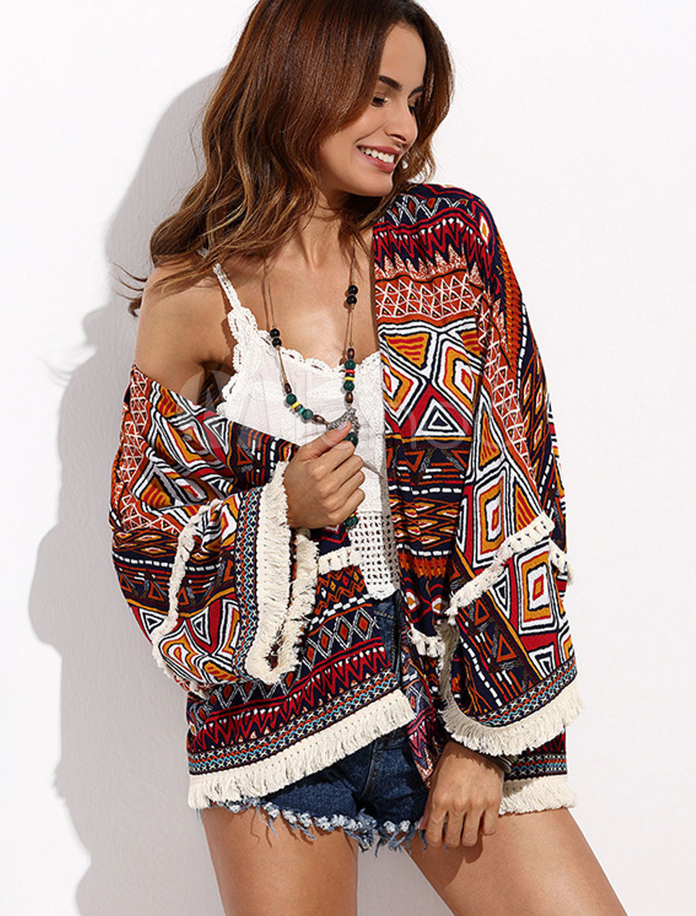 Women's Cover Ups Dark Brown Printed Long Sleeve Swimwear With Fringe Cheap clothes, free shipping worldwide