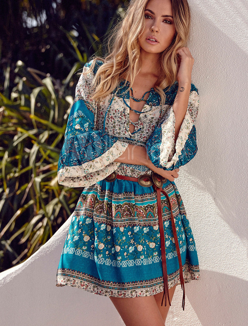 Boho Short Dress Green Round Neck 3/4 Length Bell Sleeve Lace Up Printed A Line Cotton Dress