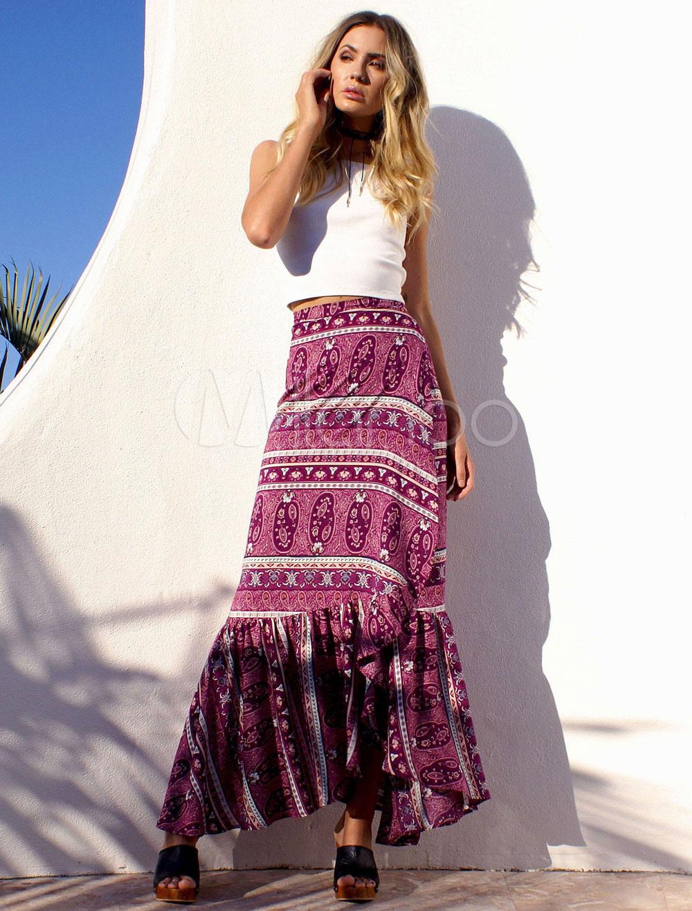 Boho Maxi Skirt Rose Red Printed Ruffle Cotton Slit Long Skirt For Women