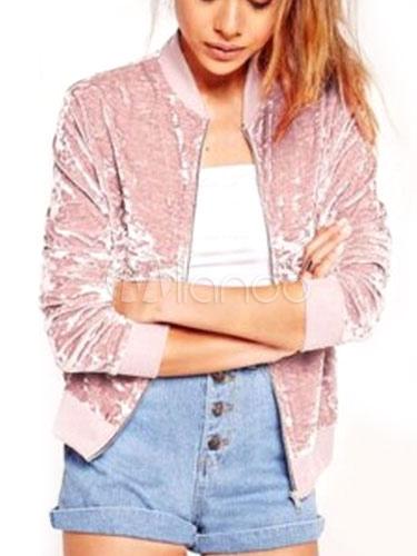 purchase cheap 0c384 528ce Rosa manica lunga Casual Giacche corte con Zip di velluto giacca donna