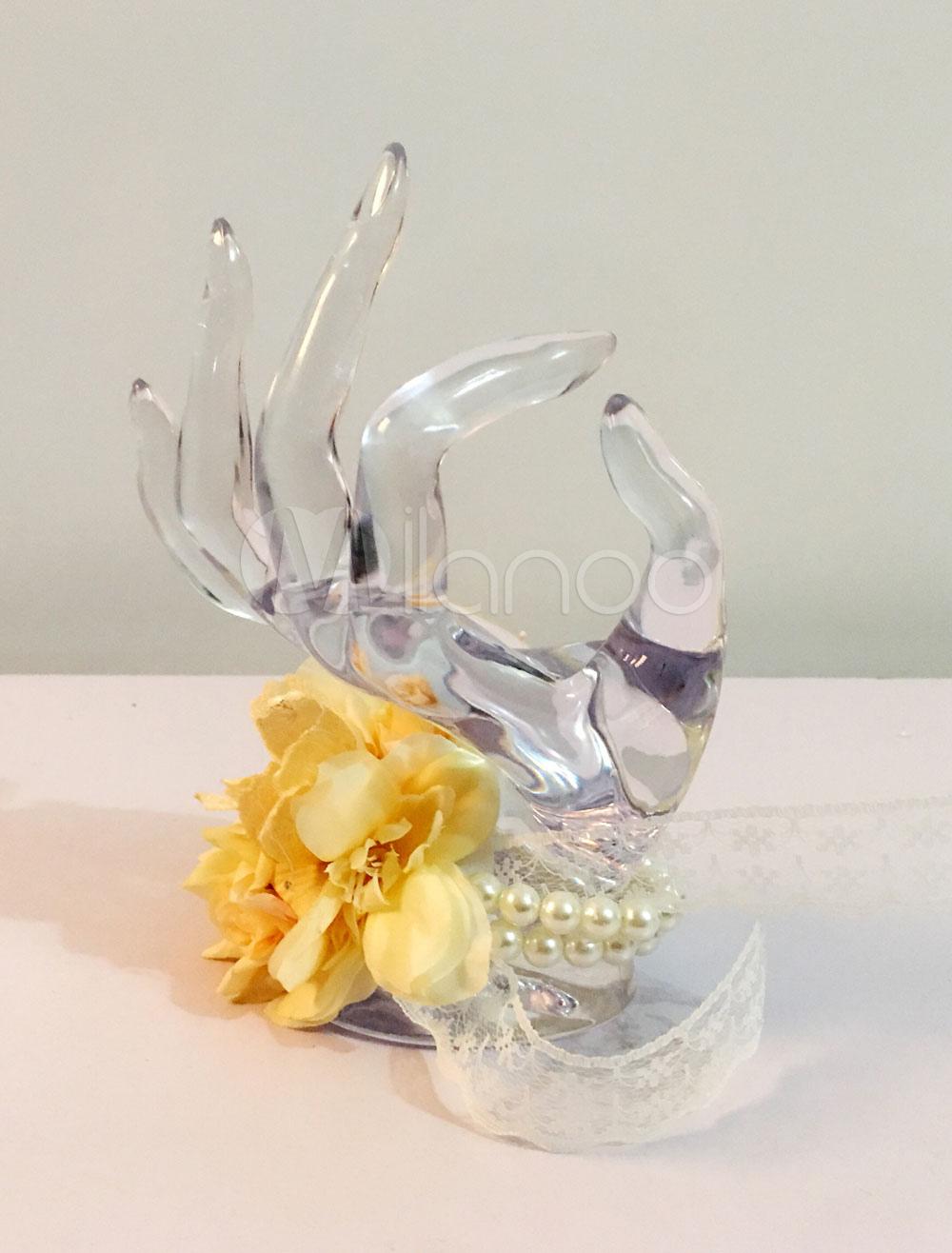 Wedding Wrist Corsage Bracelet Yellow Pearls Beaded Silk Flower Lace Ribbon Prom Corsage