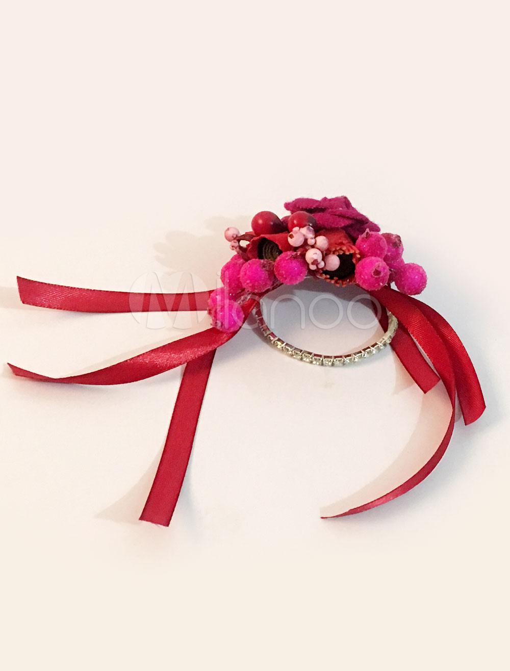 Wedding Wrist Corsage Bracelet Rhinestones Bridesmaid Red Silk Flowers Ribbon Prom Corsage