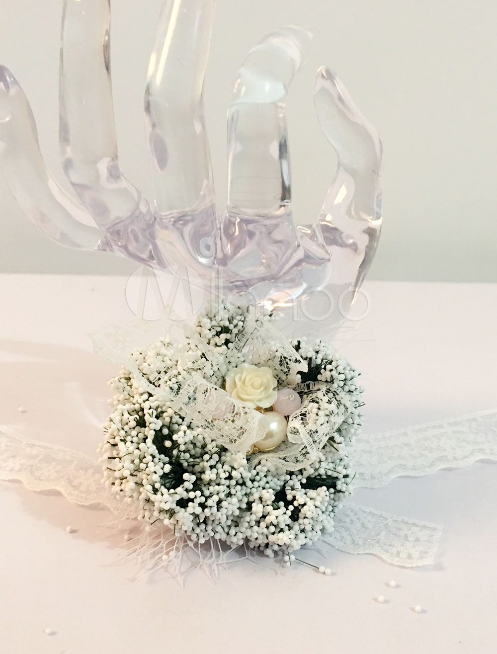 Buy Wrist Corsage Bracelet Wedding Pearls Beaded Bridesmaid White Lace Ribbon Prom Flower Corsage for $3.79 in Milanoo store