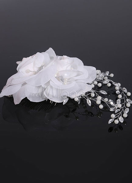 Buy White Wedding Headpieces Flowers Rhinestone Pearls Beaded Bridal Comb for $11.69 in Milanoo store