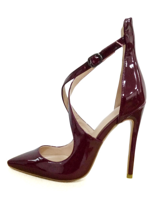 Milanoo / Burgundy High Heels Pointed Toe Criss Cross Stiletto Patent Leather Pumps Shoes