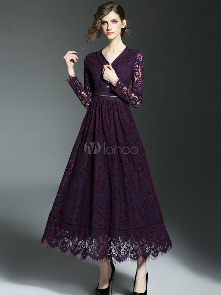 ba44ca860d Vestido largo de encaje morado vestido Maxi ilusión de manga larga mujer V  cuello fuente botón ...