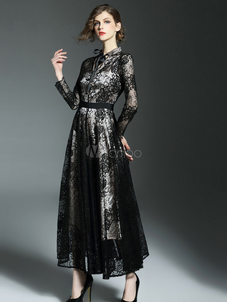 robe longue noir en dentelle bicolore moulant revers embelli. Black Bedroom Furniture Sets. Home Design Ideas