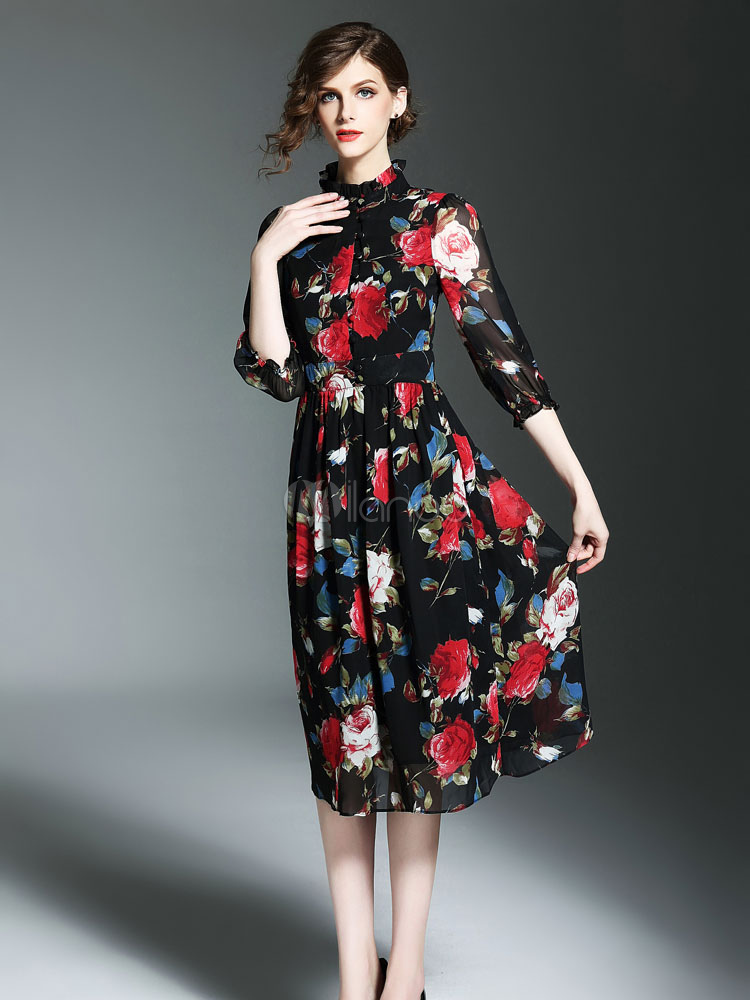 lowest price 3a175 6b7ac Skater nero vestito volant Stand collare mezza manica floreale stampato  abito lungo plissettato