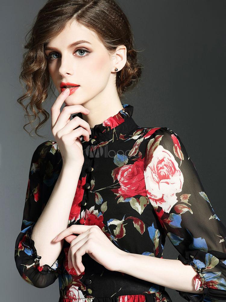 82ab6910cfef Skater nero vestito volant Stand collare mezza manica floreale stampato  abito lungo plissettato-No.