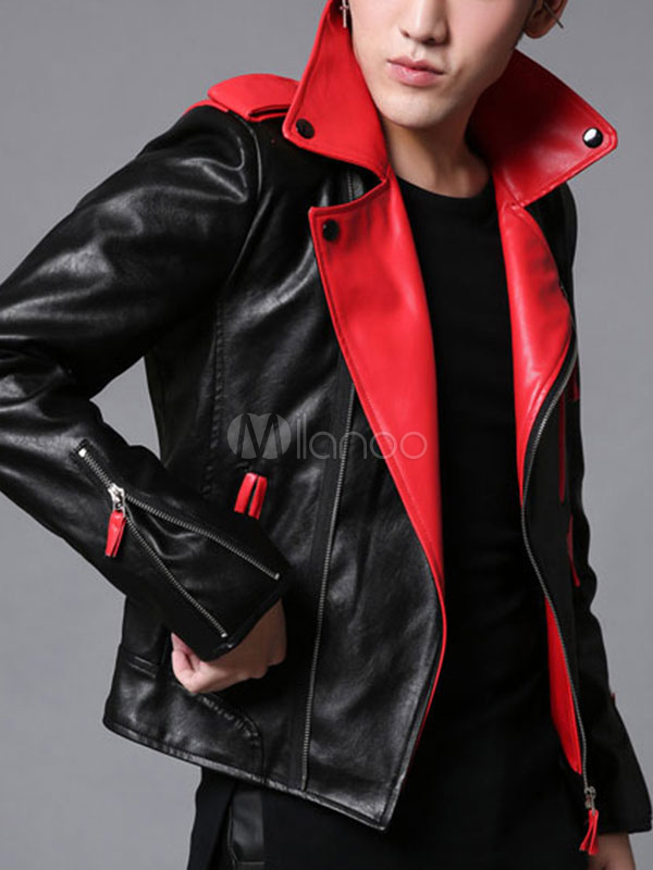 Men's PU Leather Jacket Black Turndown Collar Long Sleeve Slim Fit Jacket