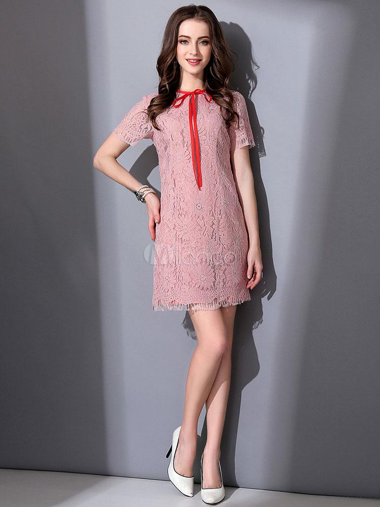 cheap for discount 738ff 58503 Pizzo abito rosa cipria donna archi Tubino Girocollo manica corta