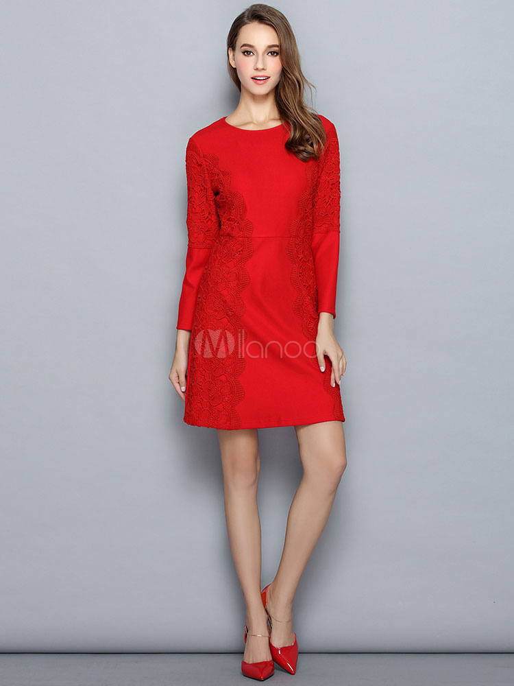 Red Shift Dress Long Sleeve Women's Lace Embroidered Round Neck Casual Short Dress Cheap clothes, free shipping worldwide