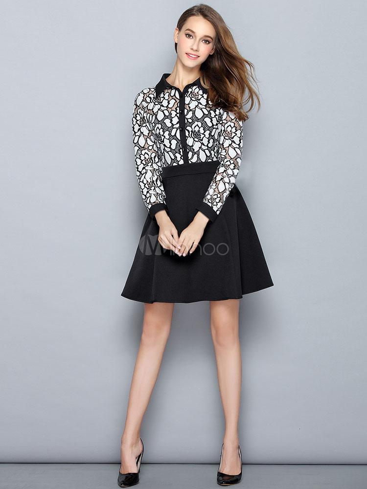 d6515e601f Black Shirt Dress Lace Patchwork Women s Long Sleeve A Line Knee Length  Skater Dress- ...