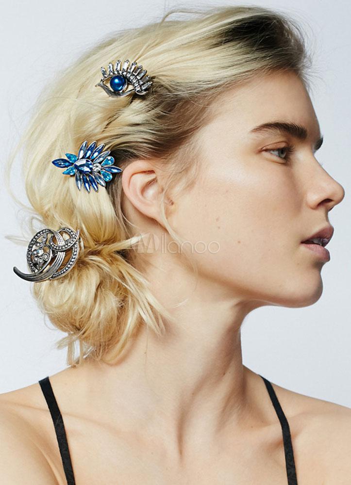 Silver Eye Hairpin Rhinestone Metal Hair Accessories Cheap clothes, free shipping worldwide