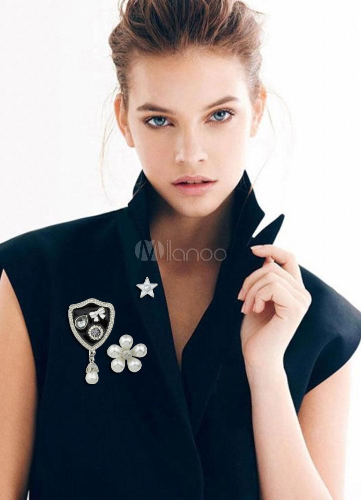 Buy Pearl Brooch Set Alloy Rhinestone Women's Brooch Pin for $2.54 in Milanoo store