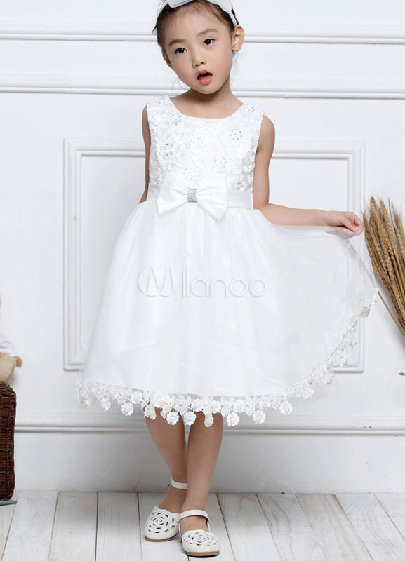 Buy Flower Girl Dresses Lace Beaded Pageant Dress White Sleeveless A Line Knee Length Toddler's Dinner Dress for $39.99 in Milanoo store