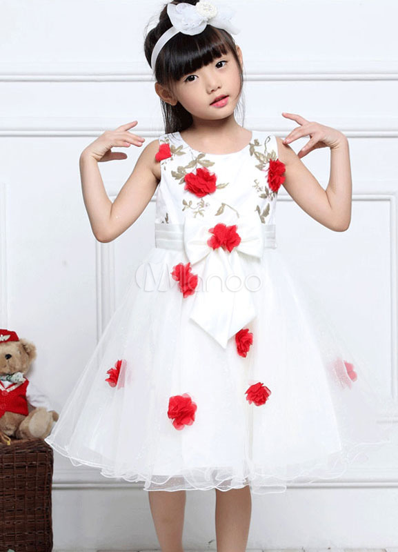 6c84f0498cc7 Tulle Flower Girl Dresses Red 3D Flowers Embroidered Pageant Dress  Toddlers' Sleeveless Bow A Line ...