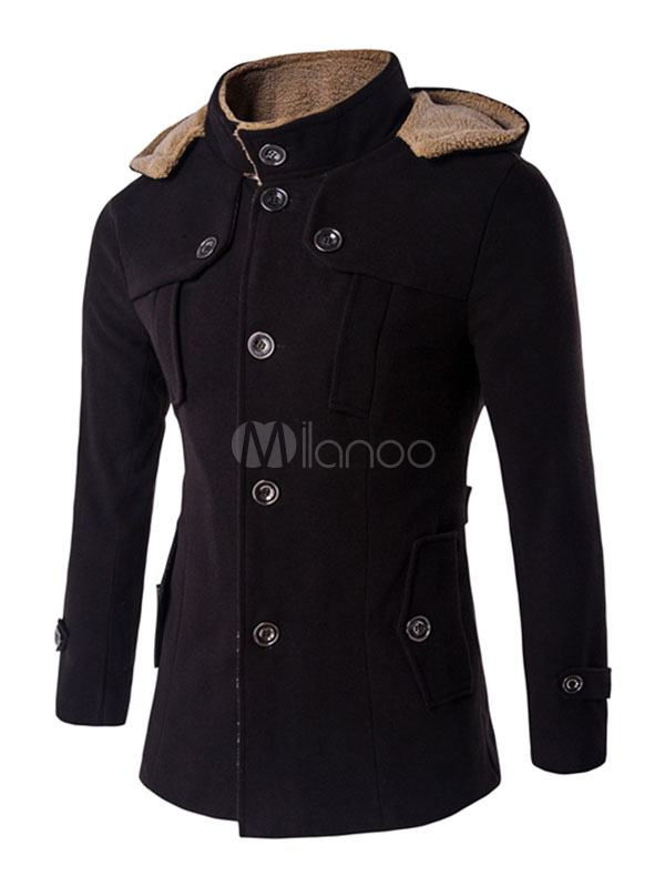 Buy Black Men's Coat Hooded Lined Long Sleeve Front Button Cuff Strap Casual Winter Coat for $64.59 in Milanoo store