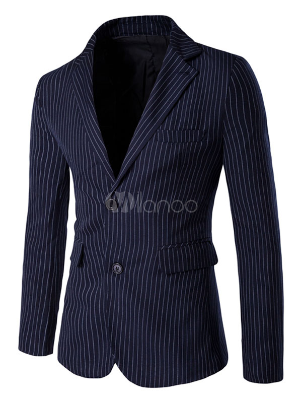 Buy Blazer For Men Stripe Suit Jacket Two Button Navy Blue Casual Blazer for $51.99 in Milanoo store