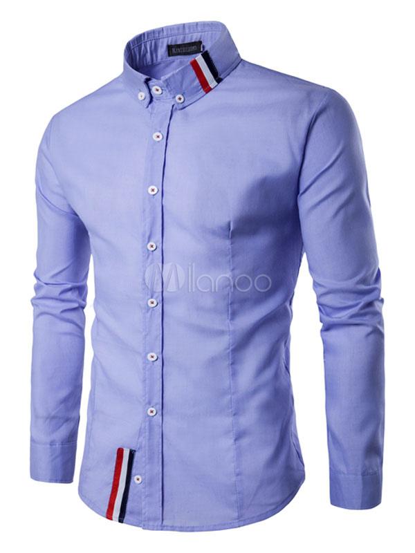 Buy Long Sleeve Shirt Men's Blue Turndown Collar Long Sleeve Cotton Casual Shirt for $22.49 in Milanoo store