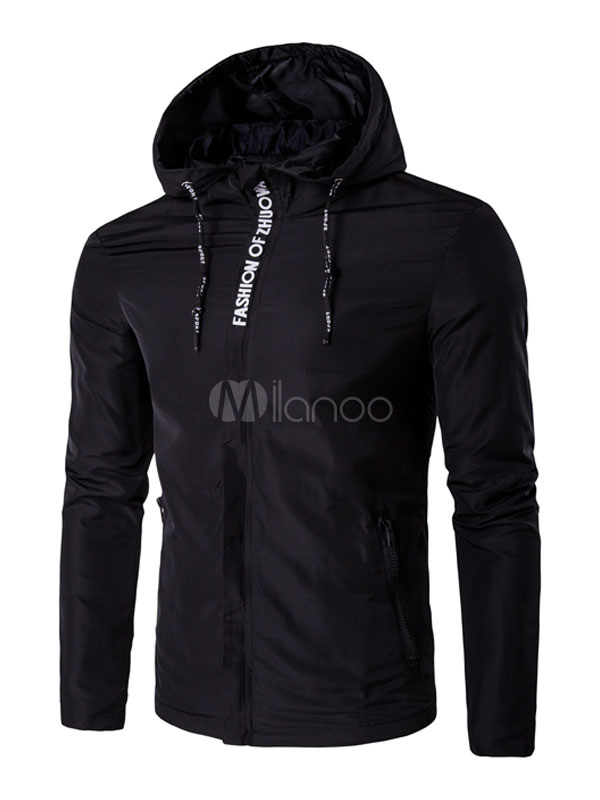 Buy Black Windbreaker Jacket Drawstring Hooded Long Sleeve Casual Zip Up Jacket for $43.19 in Milanoo store