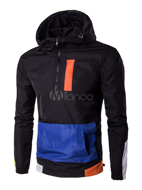 Buy Black Windbreaker Jacket Men's Drawstring Half Zip Color Block Casual Hooded Jacket for $43.19 in Milanoo store