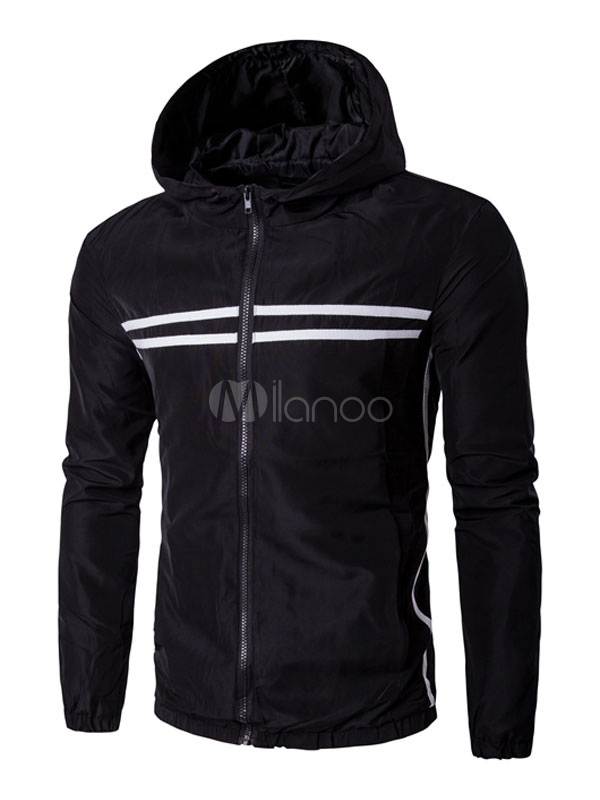 Buy Black Windbreaker Jacket Men's Zip Up Striped Elastic Bottom Casual Hooded Jacket for $43.19 in Milanoo store