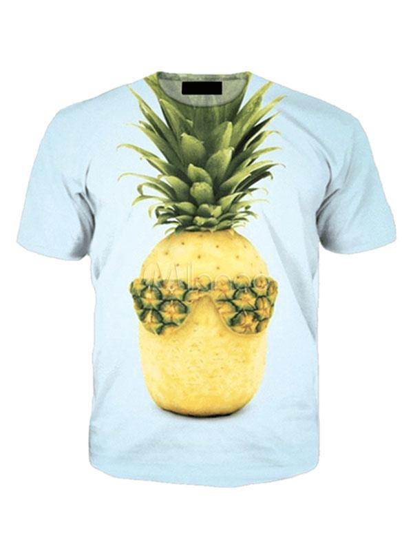 7651d6299805d T camisas amarillo verde cuello redondo manga corta piña de los hombres  impreso tapa ocasional- ...