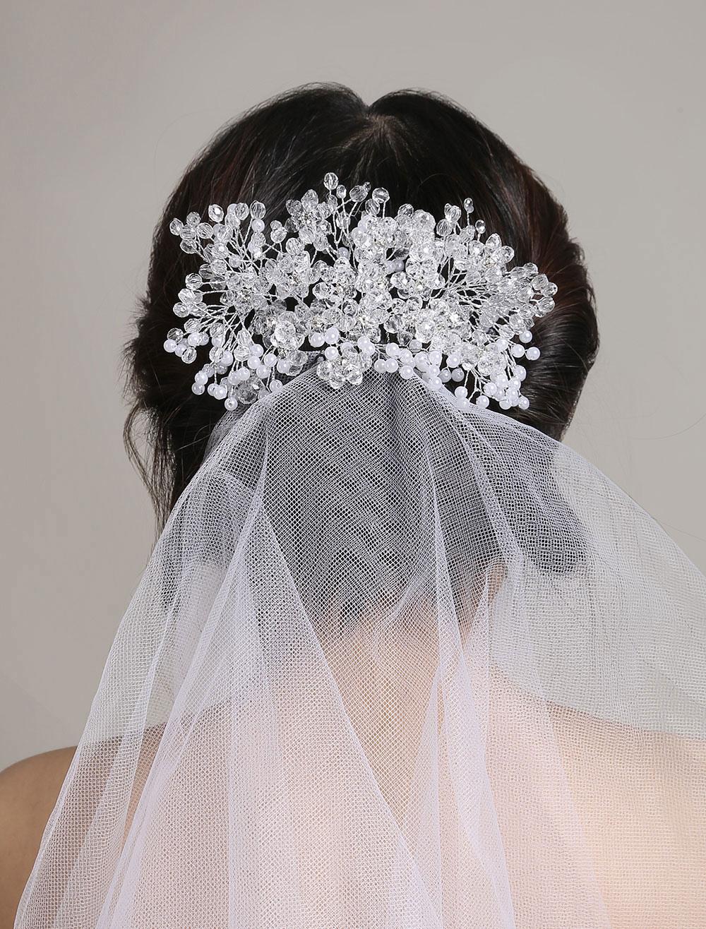 Tulle Wedding Veil White Two Tier Cut Edge Rhinestone Beaded Bridal Veil