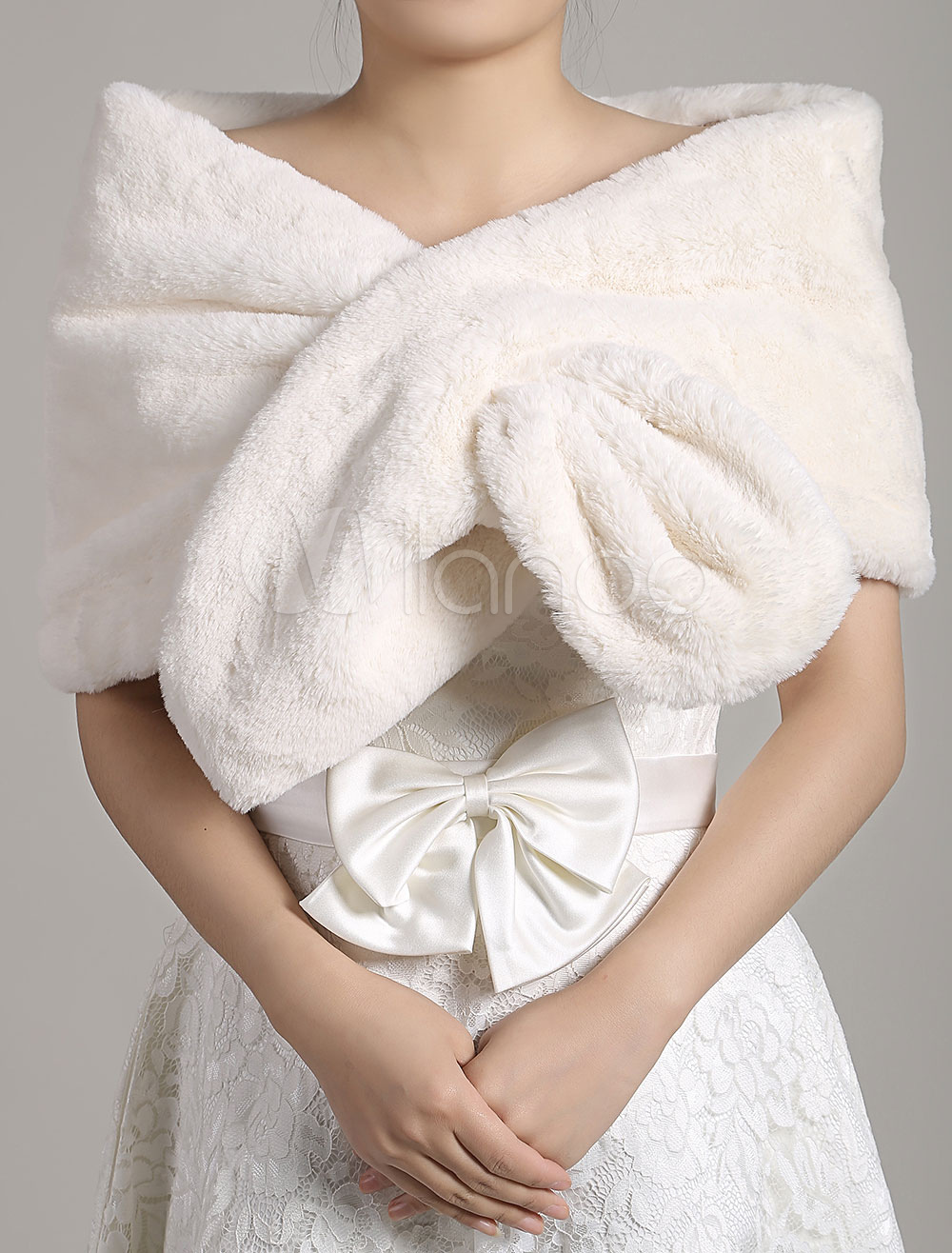 Buy Faux Fur Stole Wedding Shawl Open Front Ivory Fluffy Bridal Wrap Shrug for $24.29 in Milanoo store