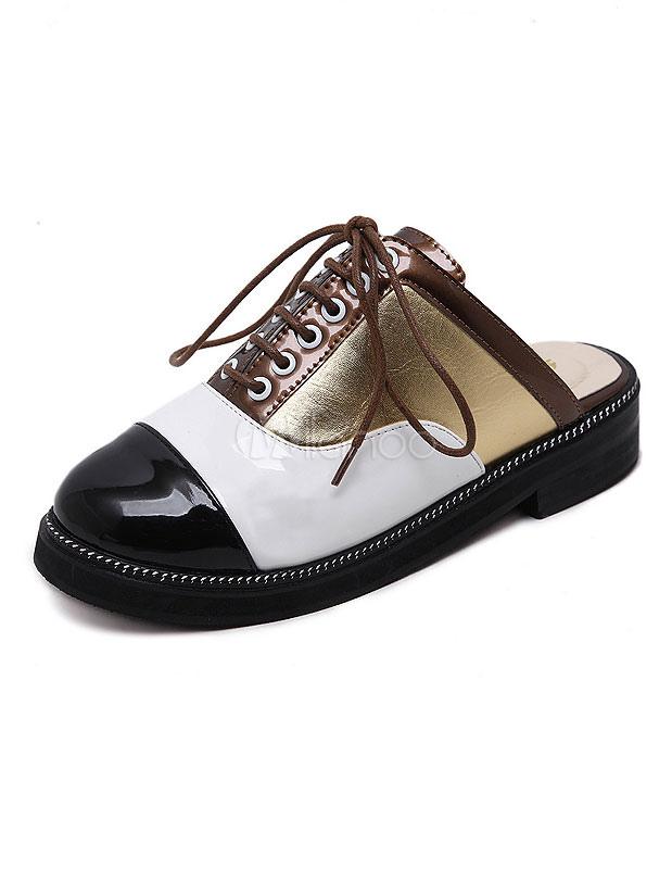 classic 41fd3 63e3a Ciabattina Scarpe stringate brevetto PU oro scarpe schiena nuda per le donne
