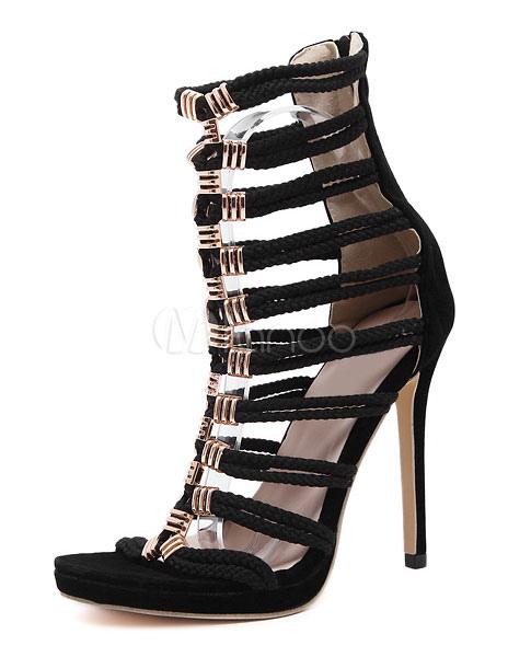 Buy Black Gladiator Sandals High Heel Open Toe Stiletto Heel Sandal Booties for $42.74 in Milanoo store