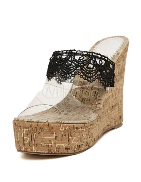 8aeaf6680e1 Zuecos de tacón de cuña Peep Toe de encaje espalda Patchwork PVC zapatos  para mujeres- ...