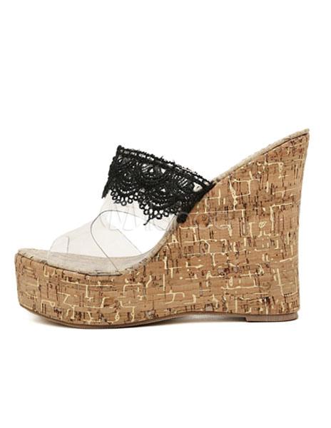 3d87806e3c4 ... Zuecos de tacón de cuña Peep Toe de encaje espalda Patchwork PVC  zapatos para mujeres- ...
