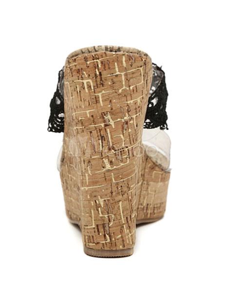 6d1ff4f6077 ... Zuecos de tacón de cuña Peep Toe de encaje espalda Patchwork PVC  zapatos para mujeres-