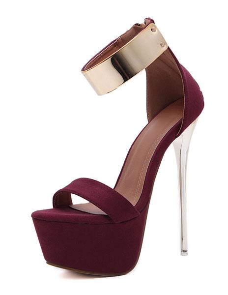 Burgundy Sexy Sandals 2018 Women High Heel Sandals Platform Metal Details Ankle Strap Sandal Shoes