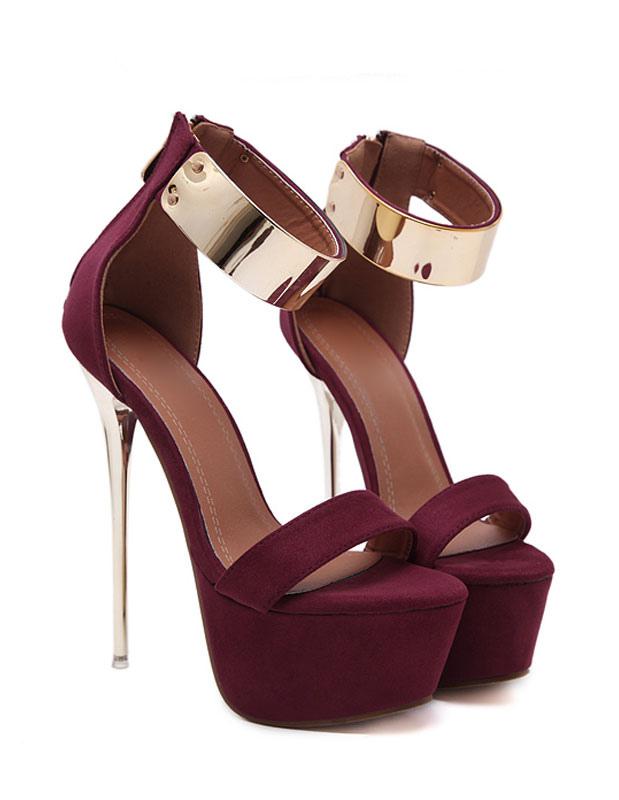 d8b124c8c0f ... Burgundy Sexy Sandals 2019 Women High Heel Sandals Platform Metal  Details Ankle Strap Sandal Shoes-