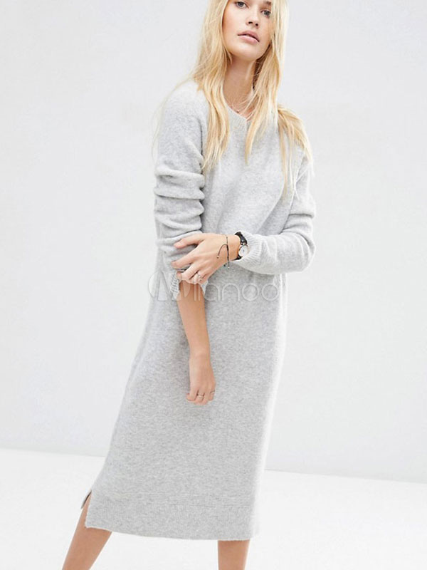 Grey Sweater Dress Round Neck Long Sleeve Knit Long Dress For Women Cheap clothes, free shipping worldwide