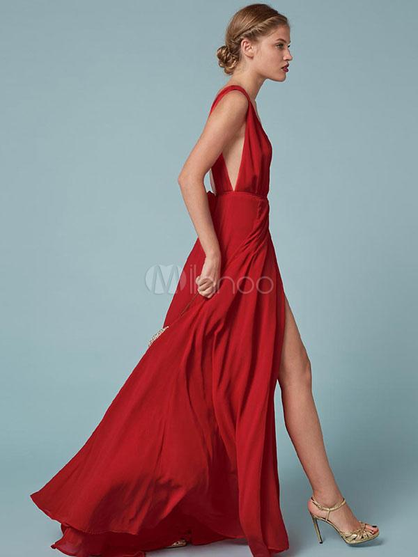 reputable site fe91b 1c154 Rosso Maxi abito elegante immergendo scollatura senza maniche senza  schienale fessura abito lungo per le donne