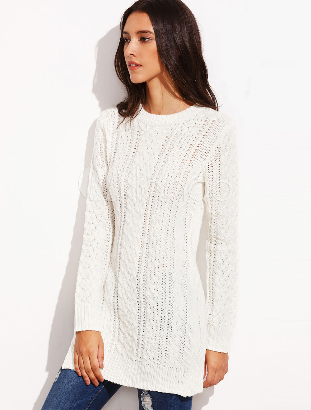 Buy Cable Knit Sweater White Pullover Women's Long Sleeve Side Split Crewneck Longline Sweater for $35.99 in Milanoo store