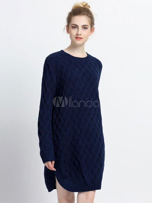 Women's Sweater Dress Dark Navy Round Neck Long Sleeve Slit Shift Dress Cheap clothes, free shipping worldwide