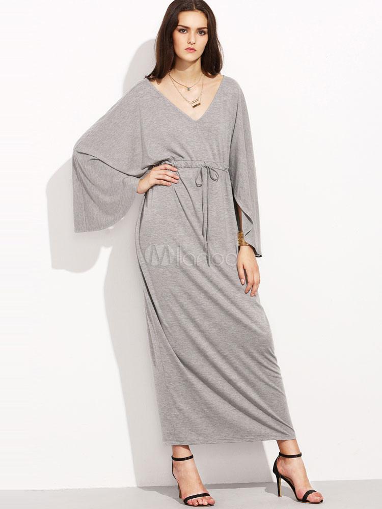 Vestido largo de punto gris
