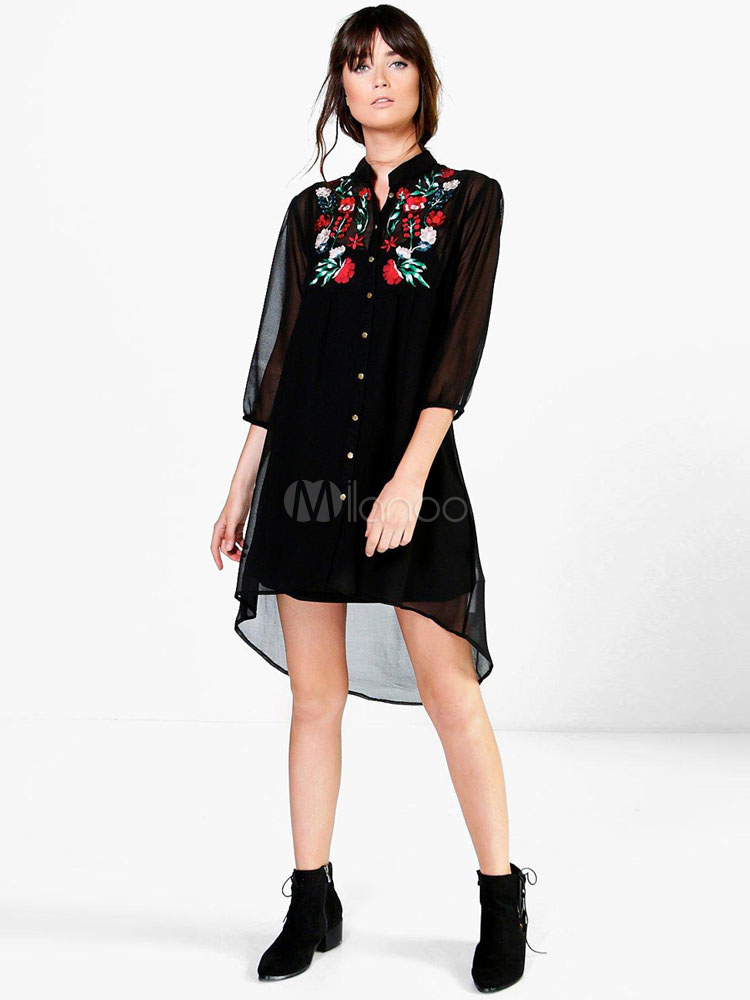 Buy Black Shirt Dress Chiffon Floral Embroidered Semi-Sheer A Line Shift Dress for $26.99 in Milanoo store