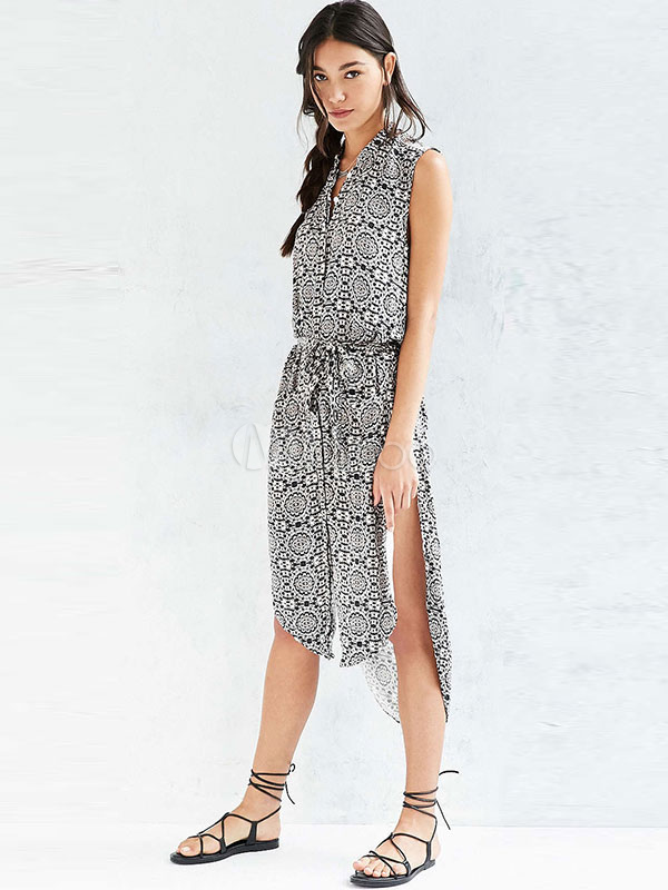 Buy Split Maxi Dress V Neck Sleeveless Floral Print Asymmetric High Low Dress For Summer for $29.69 in Milanoo store