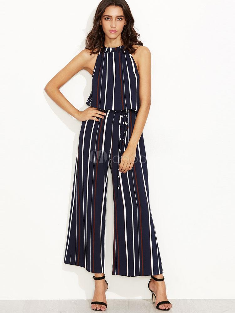 Buy Wide Leg Jumpsuit With Halter Neckline Stripe For Women for $35.99 in Milanoo store