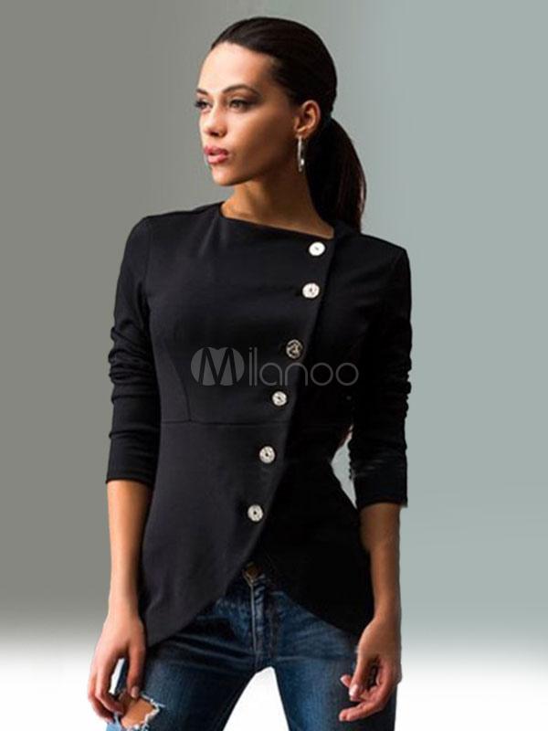 Black Blazer Women Casual Spring Jacket Long Sleeve Asymmetrical Button Lightweight Jacket Cheap clothes, free shipping worldwide