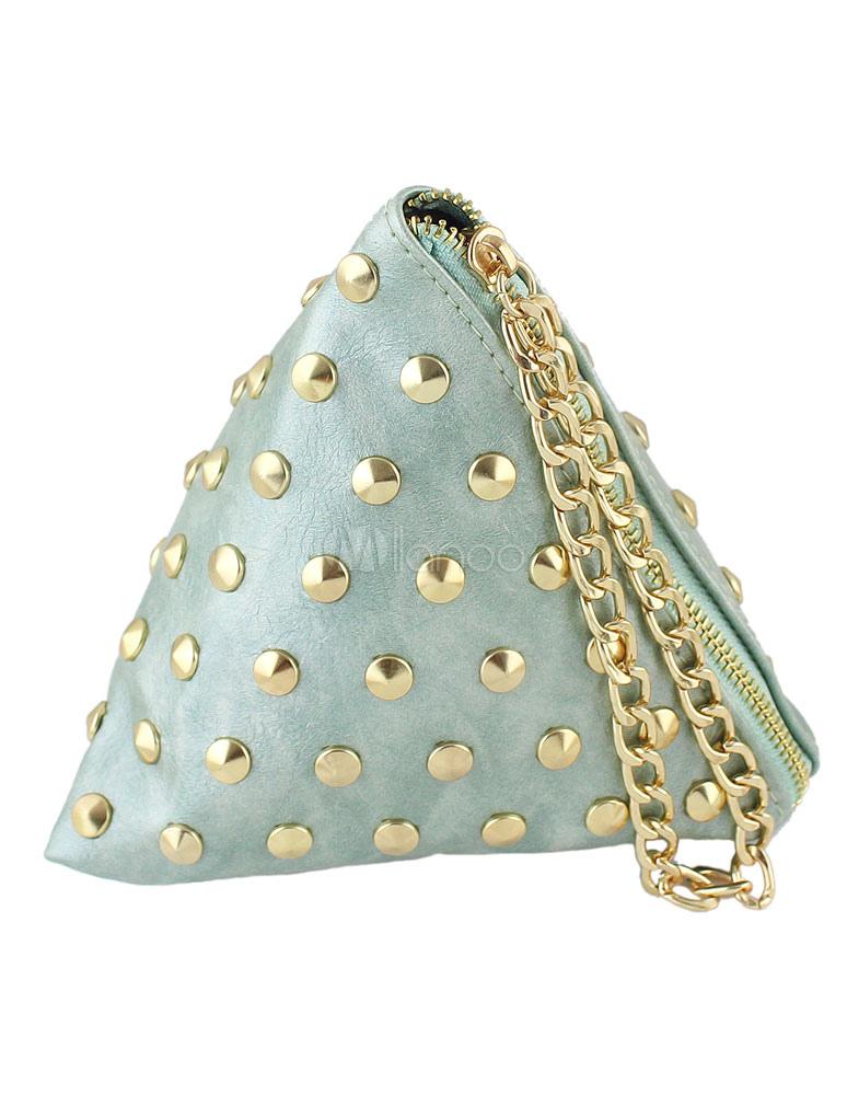 03058f93a6c65 Grüne Mini Clutch Bag Damentaschen PU Leder Dreieck Tasche Mode niet Kette  Handtasche-No.