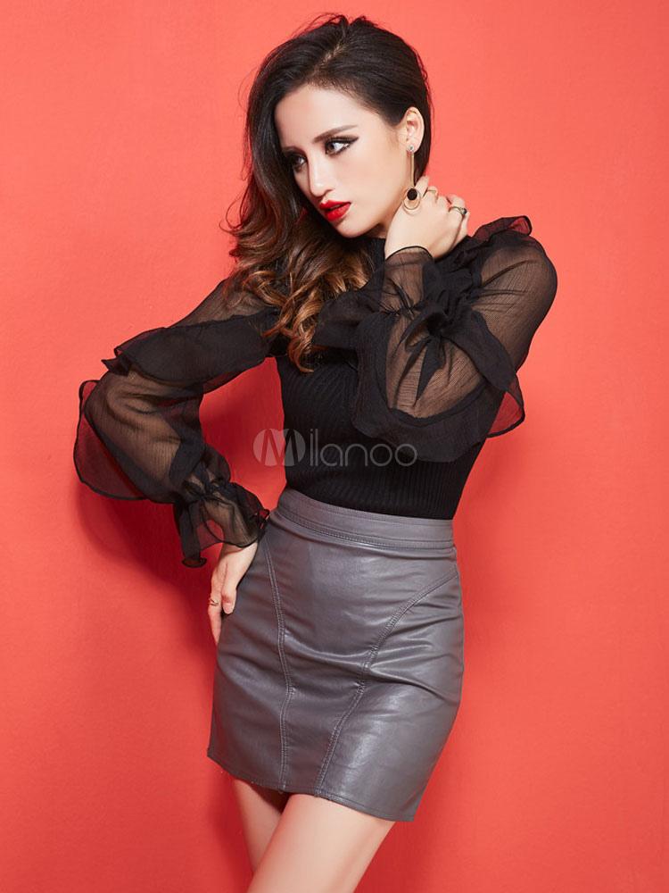 new style c1c90 99ac3 Sexy camicia nera Stand collare volant manica lunga semi-velato Top per le  donne