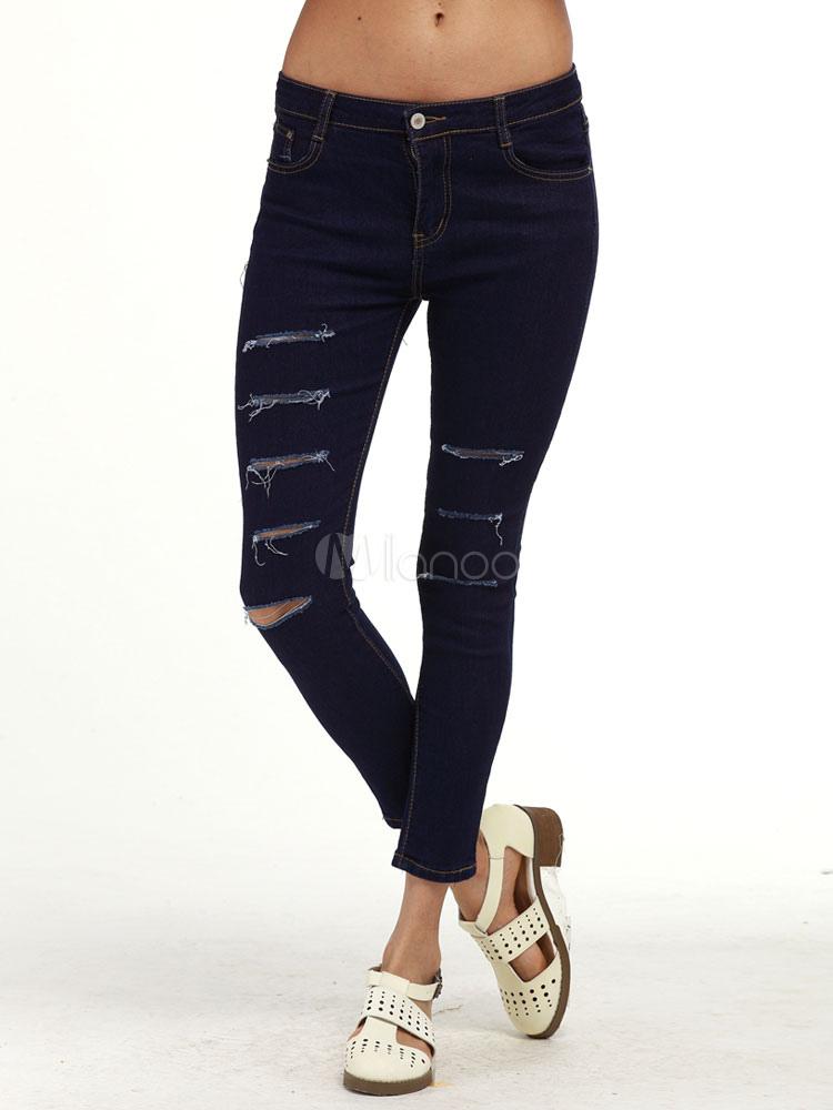 Buy Black Denim Jeans Women's High Waist Ripped Skinny Leg Pants for $24.99 in Milanoo store
